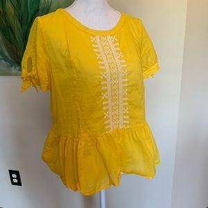 J. Crew Sunshine-Yellow Peplum Blouse